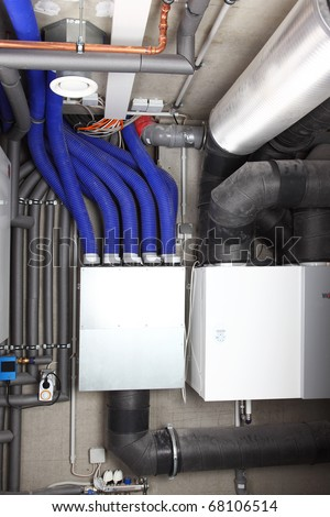 Air ventilation system and heating in passive house for energy efficiency - stock photo