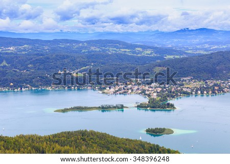 Air view on Worthersee and Portschach town in Carinthia, Austria