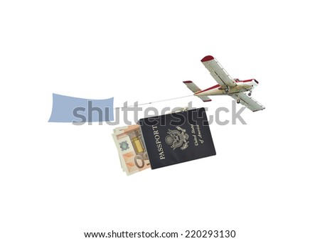Airborne aircraft with blue banner flying over US passport with fifty euro currency money isolated on white background - stock photo