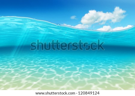 Airbrush of a submarine scene with caribbean flair - stock photo