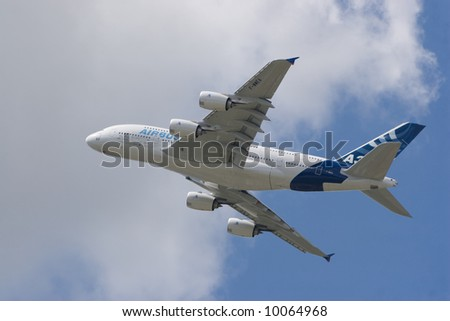 Airbus A380 in the Air - stock photo