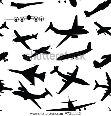 Aircraft, airplane, plane flying seamless travel transport background. Raster version.