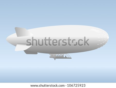 Aircraft airship, against the blue sky with clouds.