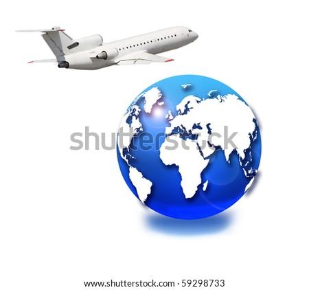 Aircraft and globe - stock photo