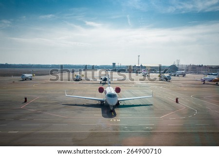 aircraft at the airport in Kiev - stock photo