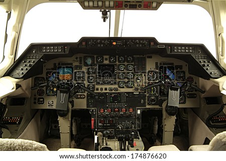 Aircraft cabin command - stock photo