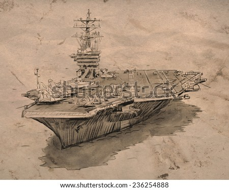 Aircraft carrier hand sketch drawing on crumpled old paper - stock photo
