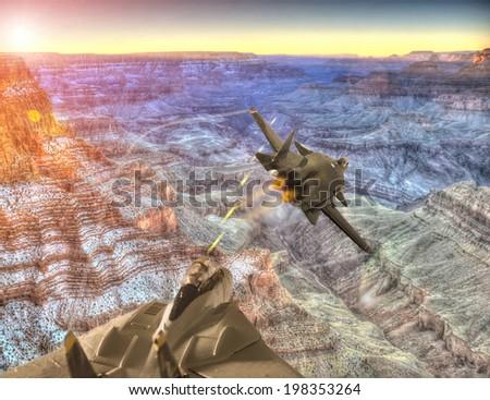 aircraft chasing - stock photo