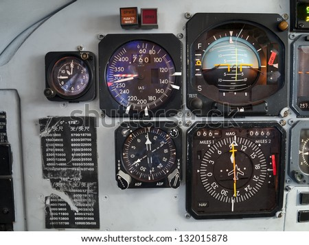 Aircraft cockpit: primary instruments in flight. - stock photo