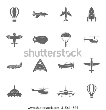 Aircraft dirigible and hot air balloon travel pictograms collection with spacecraft rocket abstract black isolated  illustration - stock photo