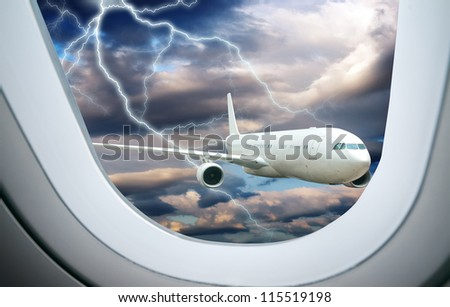 Aircraft flying in the night sky of lightning - stock photo