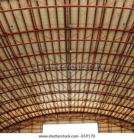 Aircraft hangar ceiling - stock photo