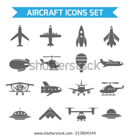 Aircraft helicopter military aviation airplane black icons set isolated  illustration