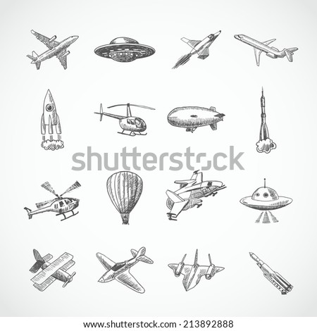 Aircraft helicopter military aviation airplane sketch icons set isolated  illustration