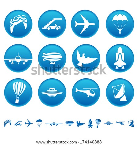 Aircraft icons. Raster version of EPS image 41468713 - stock photo