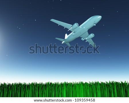 Aircraft in flight - stock photo