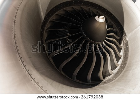 aircraft jet engine detail - stock photo
