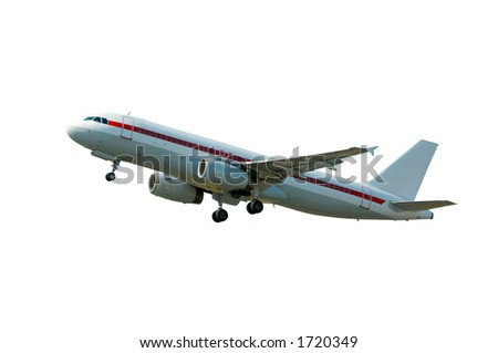 aircraft on takeoff (isolated clipping path included)