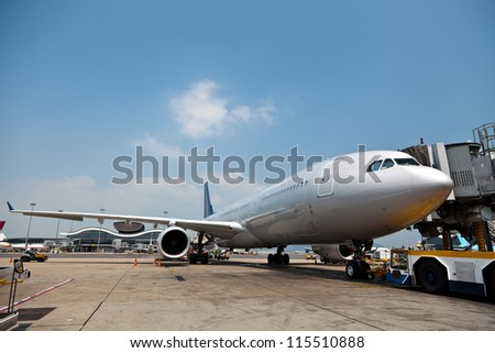 Aircraft on the apron - stock photo