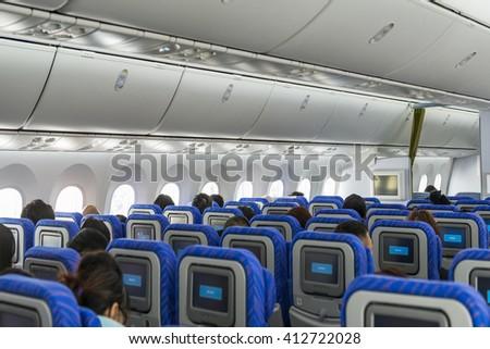 aircraft seats and windows.   - stock photo