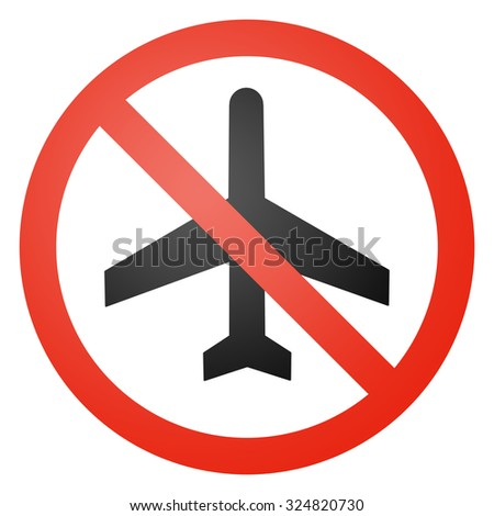 Aircraft traffic sign, round, crossed out, white background - stock photo
