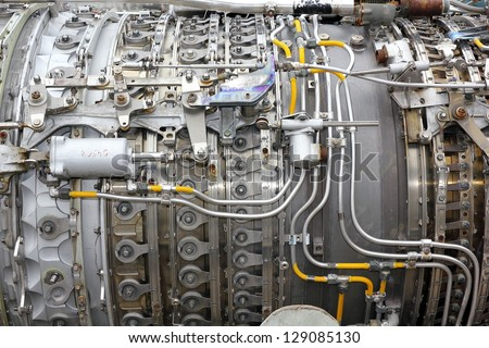 Aircraft turbojet engine - stock photo