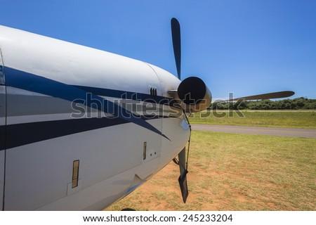 Aircraft Twin Prop Twin prop light aircraft closeup detail  - stock photo