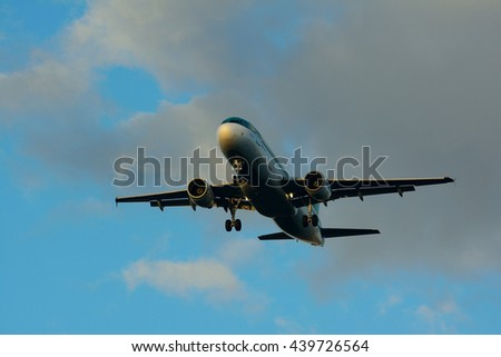 aircraft with landing gear down