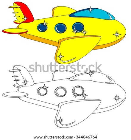 Aircraft With Portholes, Some Do Not Painted For A Children's Coloring Books, Illustration - stock photo