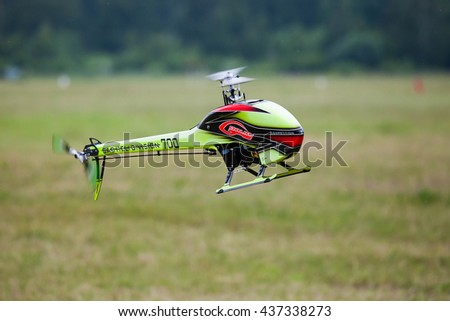 "Airfield ""Black"", MOSCOW REGION, RUSSIA - JUNE 11, 2016: The championship of Russia on helicopter sports. Radio control helicopter Sab Goblin 700"