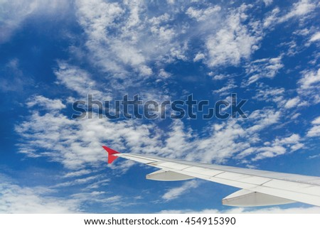 airfoil, airplane wink, cloud and sky view from the window on the airplane in sky, airplane, wink, airfoil, sky