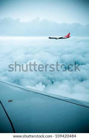 airfoil and stratosphere,aircraft in the sky - stock photo