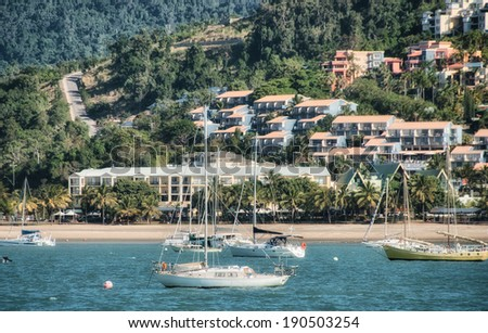 AIRLIE BEACH, AUSTRALIA - JUL 22: Cityscape and streets on July 22, 2010 in Airlie Beach, Australia. Airlie Beach is one of many departure points for the Great Barrier Reef. - stock photo