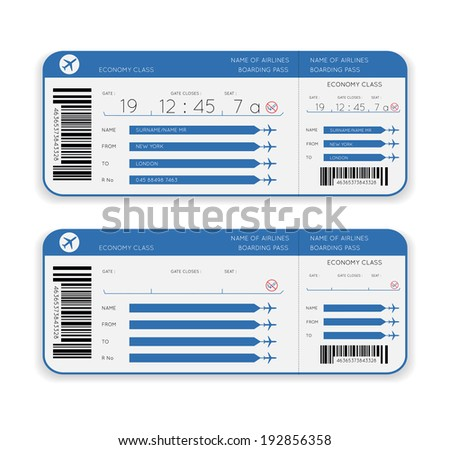 airline boarding pass ticket isolated on white background - stock photo