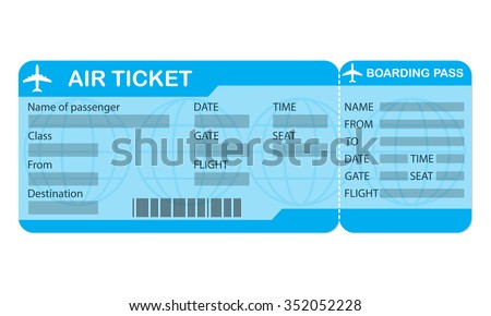 Airline boarding pass ticket on white background. Blank of airplane ticket.