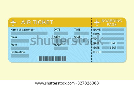 Airline boarding pass ticket. Travel concept. Detailed blank of airplane ticket.  - stock photo