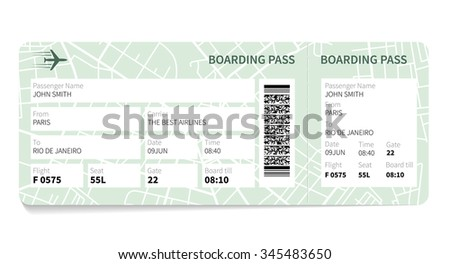 Airline boarding pass ticket with a map as a background.