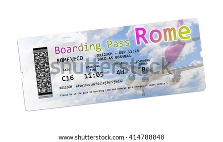 Airline boarding pass tickets to Rome isolated on white - The contents of the image are totally invented - stock photo