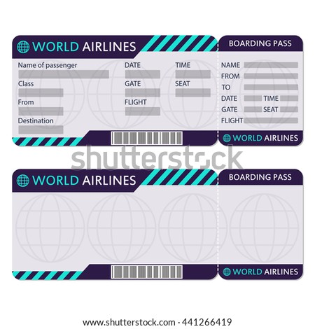 Airline Or Plane Ticket. Boarding Pass Blank And Airplane Ticket Template.  Plane Ticket Template