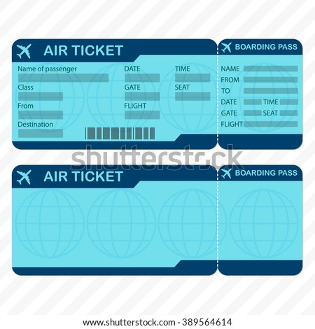 Airline Plane Ticket Template Boarding Pass Vector 370260383 – Airline Ticket Template Word