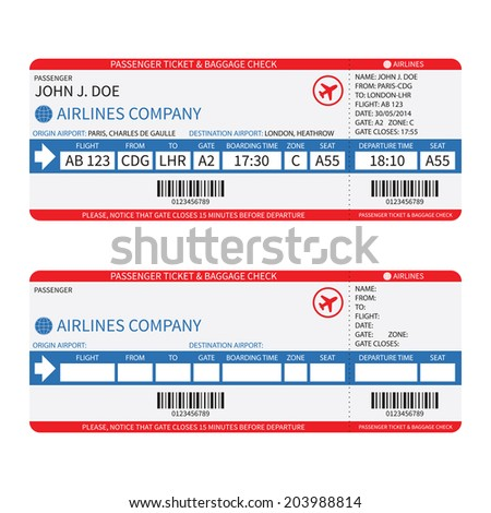 Airline passenger and baggage ( boarding pass ) tickets with barcode. Rasterized bitmap version. - stock photo
