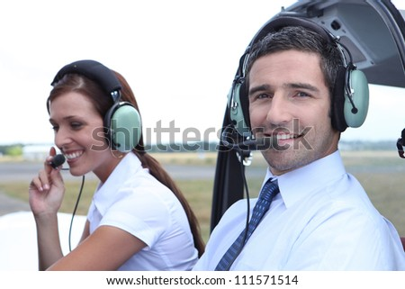 Airline pilot and co-pilot - stock photo