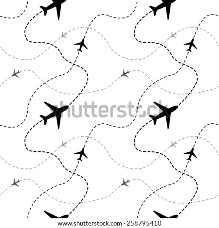 Airline routes with planes on white background seamless pattern