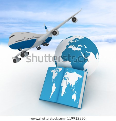 Airliner and book on sky background. Conception of air flights all over the world - stock photo
