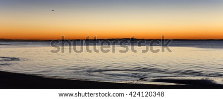 Airliner arriving early in the morning at Brisbane, Australia - stock photo