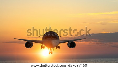 Airliner high in sky