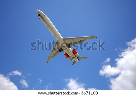 Airliner is going to land - stock photo