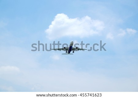 airliner landing in the sky