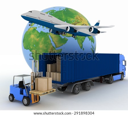 Airliner with a globe and auto loader with boxes. 3d image on a white background - stock photo