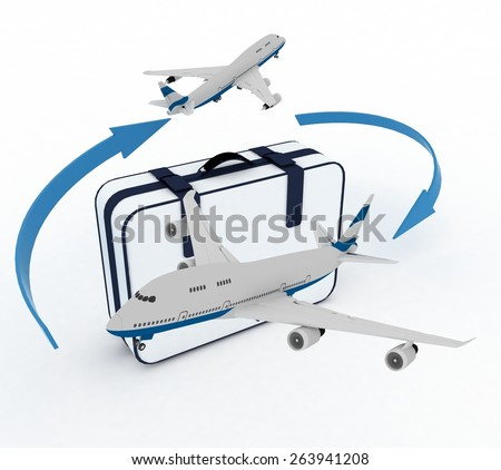 Airliners and suitcase on white background - stock photo